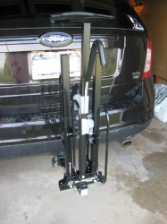Swagman XC2 2 Bike Hitch-Mount Carrier<br> in folded position on Edge.