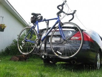 Bike on the Swagman XC2 2 Bike Hitch-Mount Carrier.