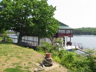 Tour boat docked at park