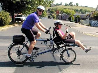 retambent recombent and regular bike for two