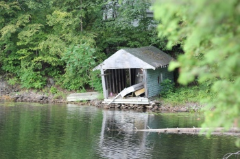 Boathouse, Lake of the Woods, focus on boathouse