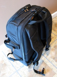 Front View.  You can see the tripod straps extended quite a ways to show how long they are.  The extra shoulder strap lengths are not secured in their velcro folds in this picture.