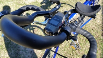 Garmin Virb mounted on aero-bars 2