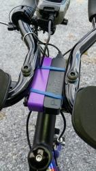 Example of multiple battery packs powering the Virb, mounted out of the way on a road bike.