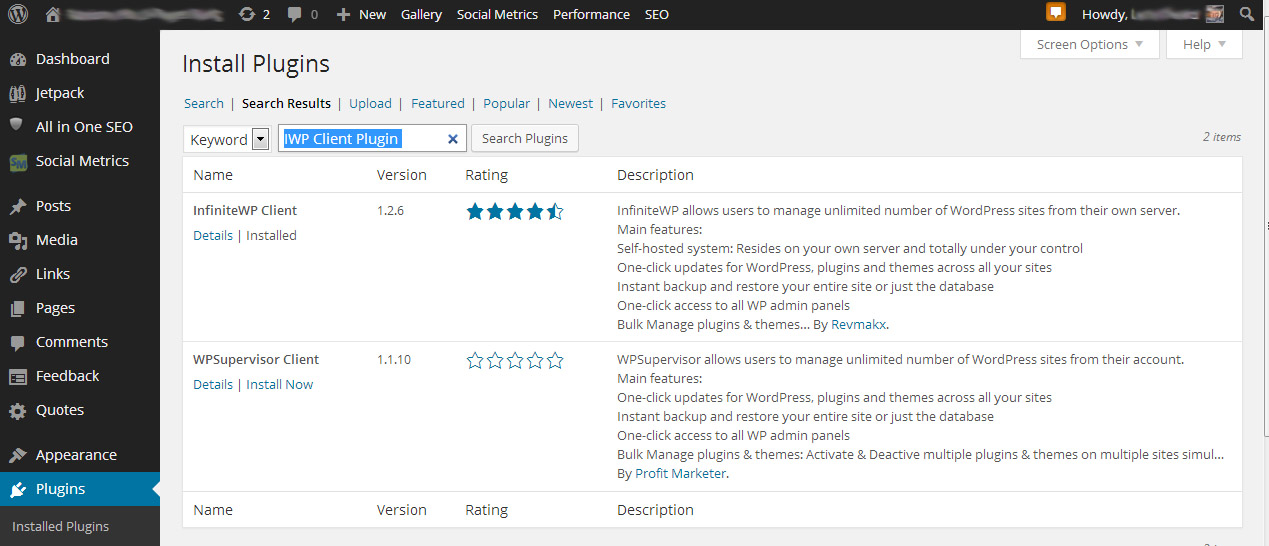 Wordpress InfiniteWP Plugin