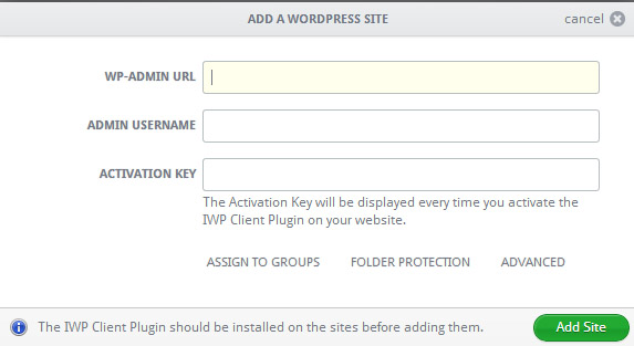Add a WordPress Site