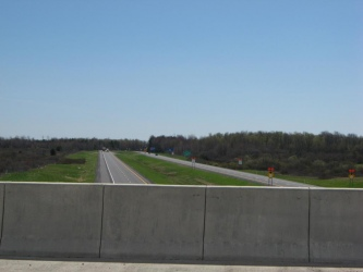 View of the new Fort Drum connector road as seen from the overpass on Gould Road