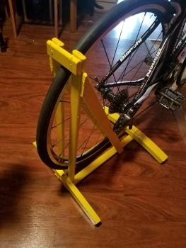 Painted version of the recycled wood bike stand