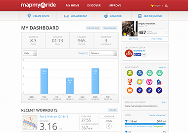 Example screen from MapMyRide