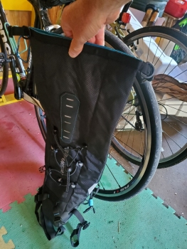 Scale comparison - fully extended bag compared to bicycle wheel