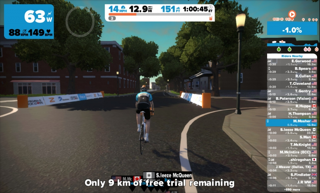 Zwift - Quick Review (During Trial Period) - Random Bits & Bytes Blog