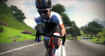 Jens Voigt hill climbing on his Trek - from the Zwift press kit